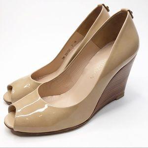 Stuart Weitzman Nude Tan Patent Leather Wedge Heel